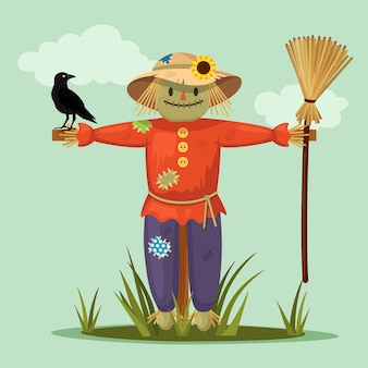 Smiling scarecrow with crow in garden. cartoon flat design
