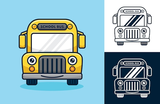 Smiling school bus. vector cartoon illustration in flat icon style