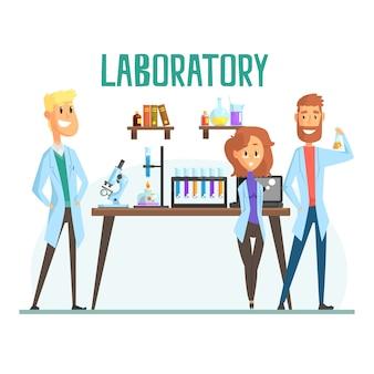 科学研究室のインテリア、研究室で働く科学者の男女の笑顔