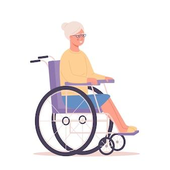 그녀의 휠체어에 앉아 웃는 수석 여자 노인 장애인 연금 할머니 여자 절연