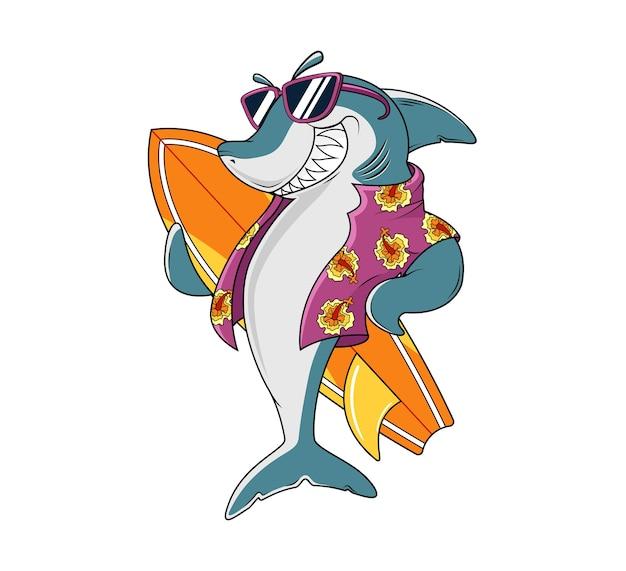 Улыбающаяся акула в солнечных очках и держит доску для серфинга в гавайской рубашке