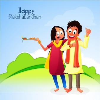 Smiling siblings celebrating raksha bandhan