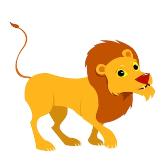Smiling single lion. cartoon style illustration.