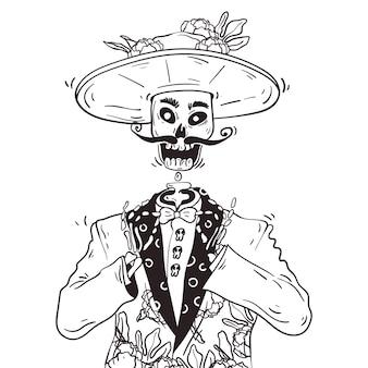 Улыбающийся скелет. день мертвых или dia de los muertos. рисованной каракули линии искусства иллюстрации