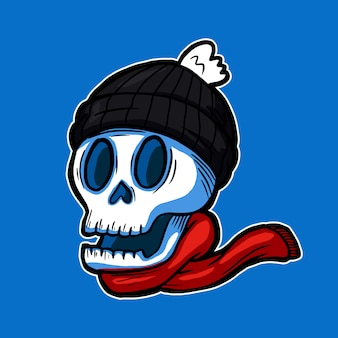 Smiling skull head wearing knitted beanie hat and scarf illustration