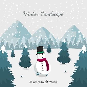 Smiling snowman winter landscape background