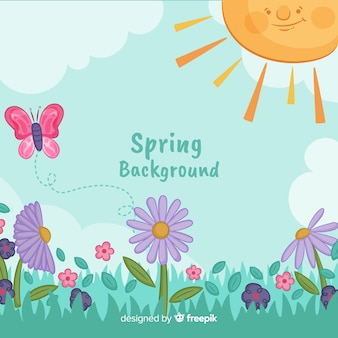 Smiling sun spring background