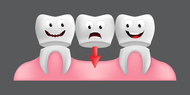 Smiling teeth with fixed bridgework. cute character with facial expression. funny  for children's design.  realistic  illustration of a dental ceramic model isolated on a grey background