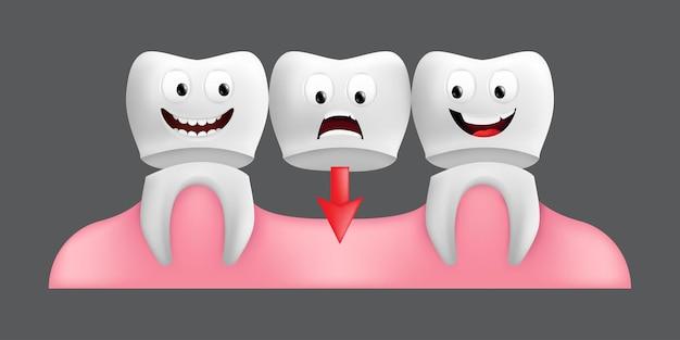 固定ブリッジワークで歯を笑顔。表情のかわいいキャラクター。子供のデザインに面白い。灰色の背景に分離された歯科用セラミックモデルのリアルなイラスト