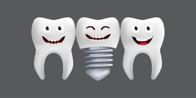 金属インプラントで歯を笑う。表情のかわいいキャラクター。子供のデザインに面白い。灰色の背景に分離された歯科用セラミックモデルのリアルなイラスト