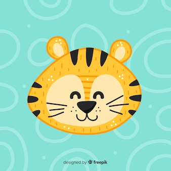 Smiling tiger hand dawn background