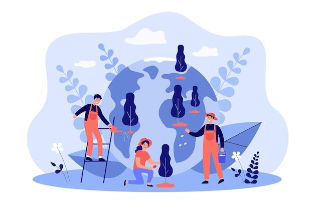 Улыбающиеся крошечные люди, растущие деревья вместе плоская иллюстрация