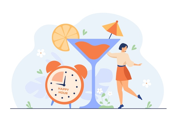 Smiling tiny woman drinking alcohol in happy hours flat illustration.