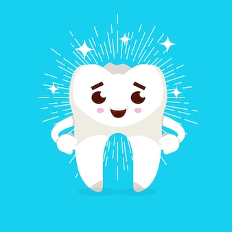 Smiling tooth cartoon character. caries prevention concept. vector illustration.