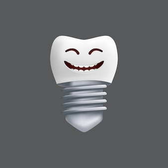 金属製のインプラントで歯を笑う。表情のかわいいキャラクター。子供のデザインに面白い。灰色の背景に分離された歯科用セラミックモデルのリアルなイラスト