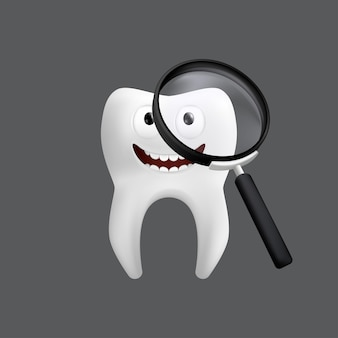 Smiling tooth with a magnifying glass. cute character with facial expression. funny for children's design.  realistic  illustration of a dental ceramic model isolated on a grey background