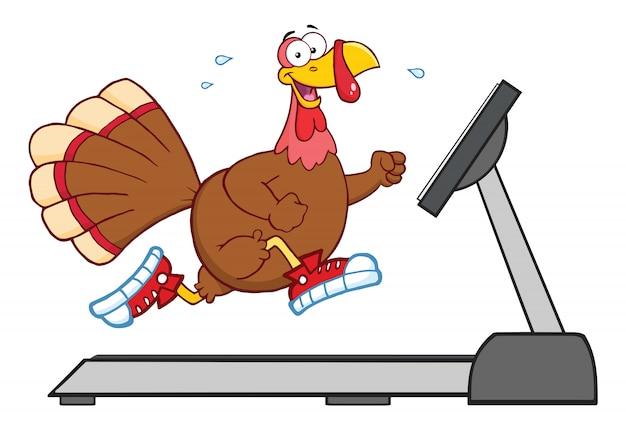 Smiling turkey cartoon character running on a treadmill