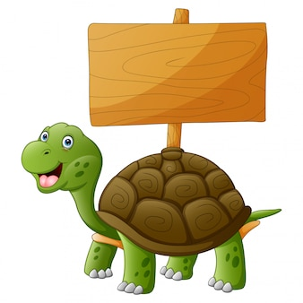 A smiling turtle with empty wooden plank