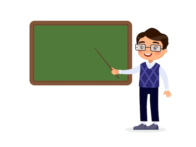 Smiling tutor pointing at blank chalkboard in classroom cartoon character. educational process.