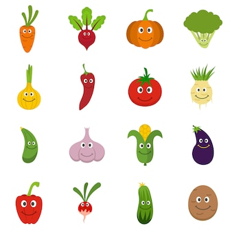 Smiling vegetables icons set