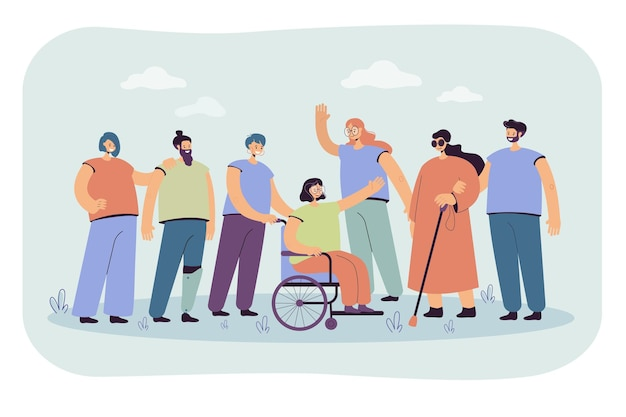 Smiling volunteers helping disabled people isolated flat  illustration. cartoon illustration