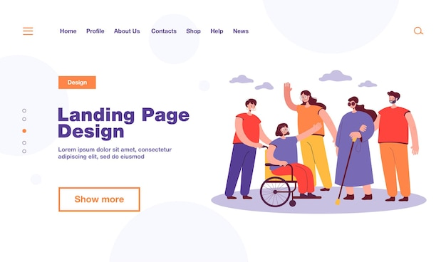 Smiling volunteers helping disabled people landing page template