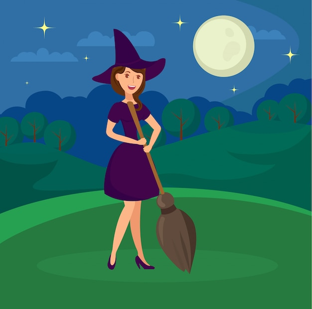 Smiling witch holding broomstick flat illustration