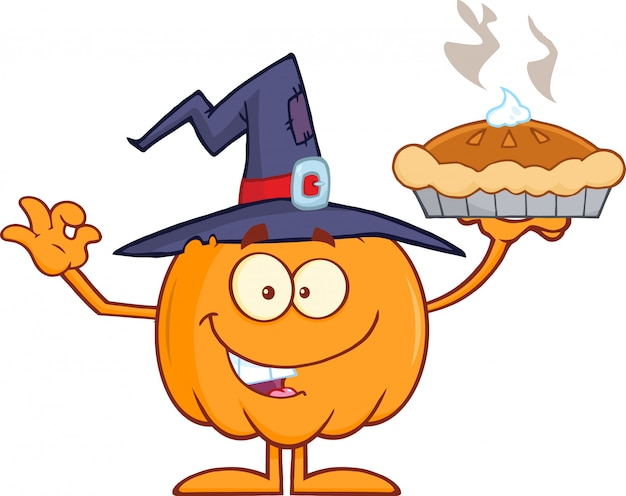 Smiling witch pumpkin cartoon character holding up a pie