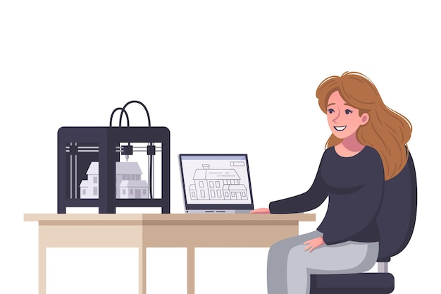 Smiling woman architect printing house model on 3d printer cartoon