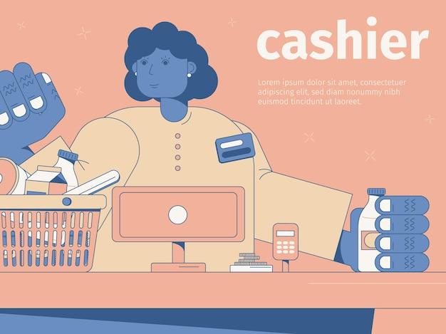 Smiling woman cashier at cash desk in supermarket flat