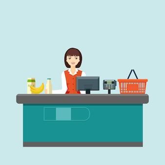 笑顔の女性レジ係はスーパーマーケットのレジの後ろに座っていますフラットベクトルイラスト