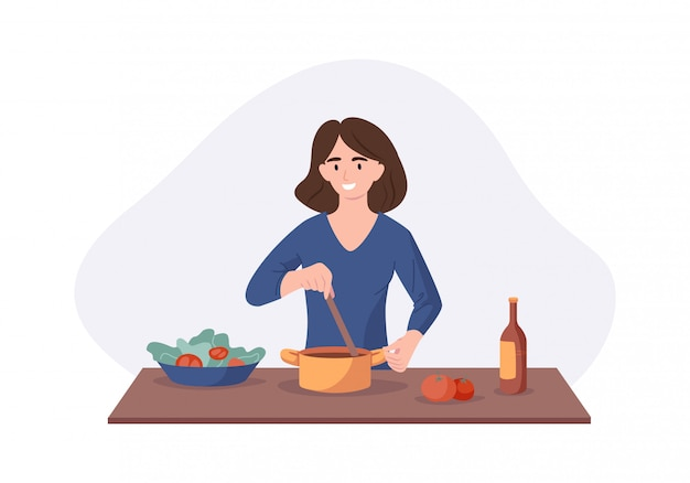Smiling woman cooking on kitchen table. wife cooked soup and tastes it with a spoon. illustration home concept preparing homemade meals for dinner