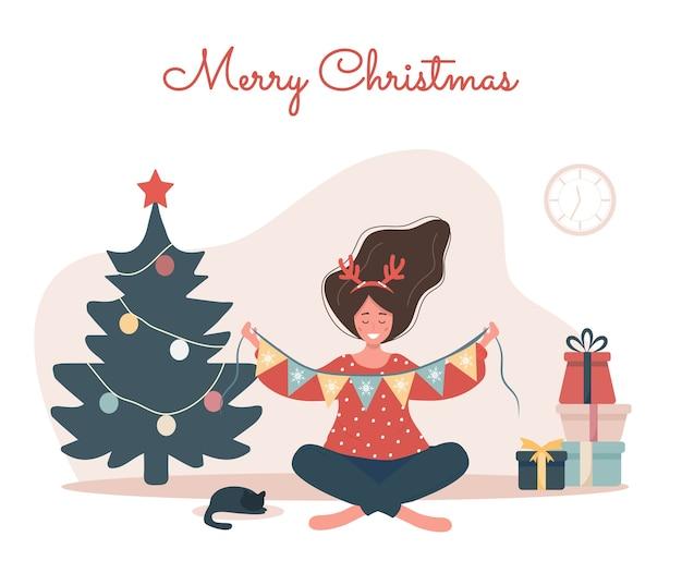 クリスマスツリーを飾る笑顔の女性。新年のヴィンテージはがき。