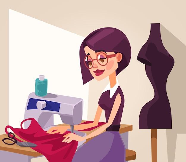 笑顔の女性デザイナーのキャラクターが服を縫う