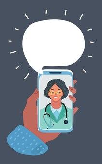 전화 화면에 웃는 여자 의사