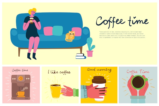 Smiling woman drinking coffee. coffee time, break and relaxation concept cards. illustration in flat design style