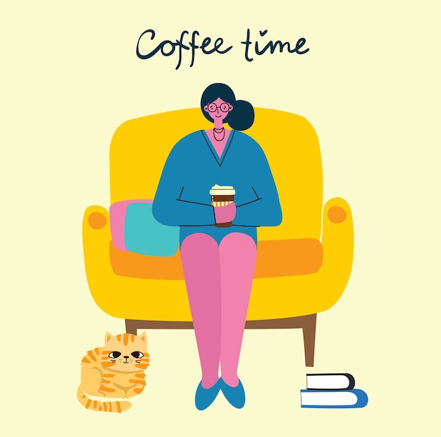 Smiling woman drinking coffee. coffee time, break and relaxation concept cards. illustration in modern flat design style