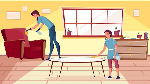Smiling woman and girl cleaning furniture in living room flat