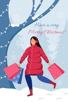 笑顔の女性がクリスマスプレゼントで家に急いで帰るクリスマスショッピングのコンセプト
