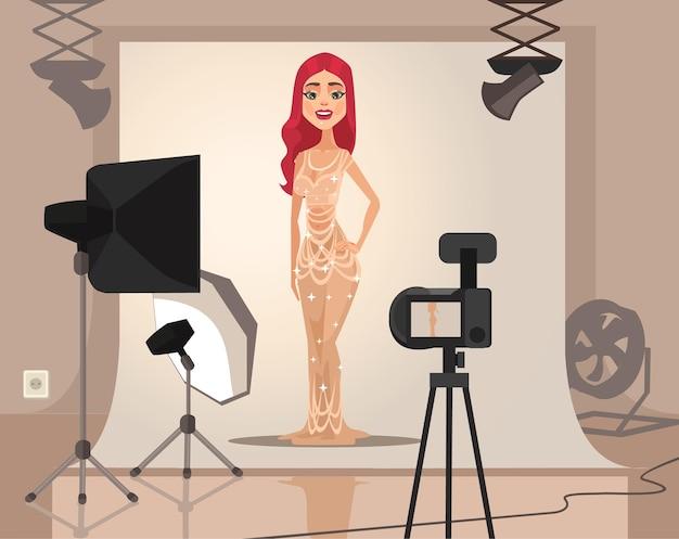 笑顔の女性モデルのキャラクター撮影。フラット漫画イラスト