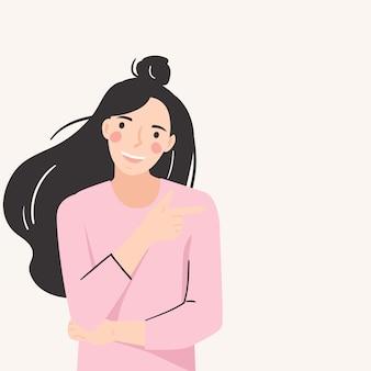 笑顔の女性の人差し指。良い気分、楽しい、肯定的な、幸せなコンセプト