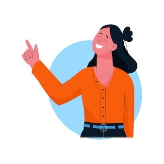 指を上に向けて笑顔の女性。