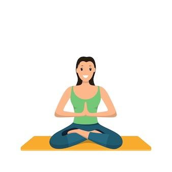Smiling woman sits lotus position involved sport