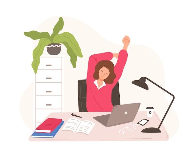 ノートパソコンで休憩し、自分自身を伸ばして机に座っている笑顔の女性。コンピューターでの作業中に短い休憩をとっている女性のサラリーマンまたは店員。フラット漫画スタイルのベクトルイラスト。