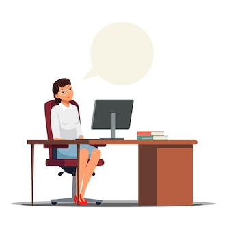 Smiling woman sitting at desk with computer and dreaming at workplace copy space speech bubble overhead