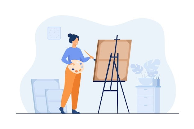 Smiling woman standing near easel and painting flat illustration.