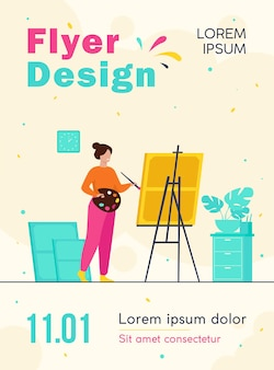 Smiling woman standing near easel and painting flyer template