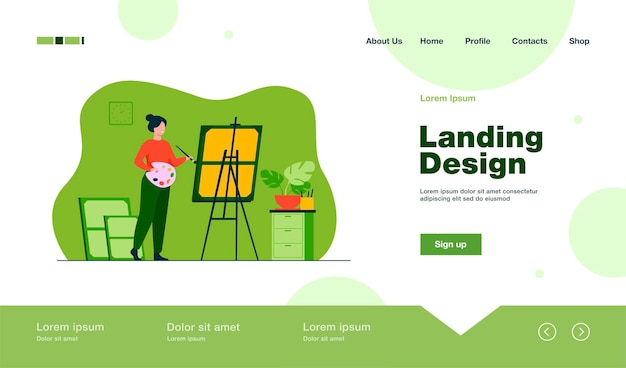 Smiling woman standing near easel and painting landing page in flat style