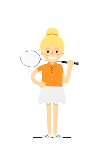 라켓 웃는 여자 테니스 선수