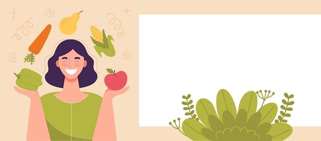 그의 손에 야채와 과일을 들고 웃는 여자. 건강에 좋은 음식, 다이어트의 개념, 생식 다이어트, 채식주의자. 웹 사이트를 위한 배너, 텍스트를 위한 공간, 템플릿. 플랫 만화 벡터 일러스트 레이 션